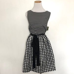 Taylor Fit and Flare Gingham Dress 14W NWT